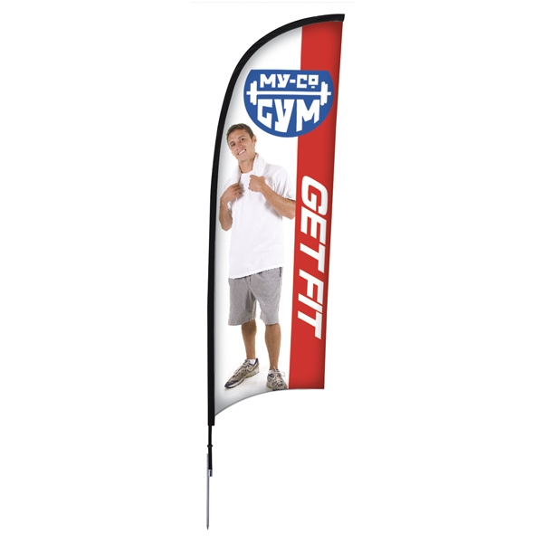 9' Razor Sail Sign Kit, Single-sided With Spike Base Photo