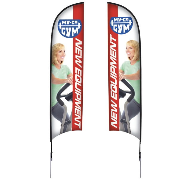 13' Razor Sail Sign Kit, Double-sided With Spike Base Photo