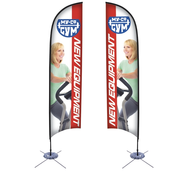 13' Razor Sail Sign Kit, Double-sided. Scissor Base With Water Ballast Photo