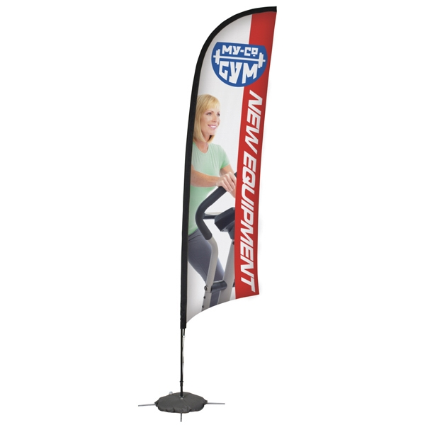 13' Razor Sail Sign Kit, Single-sided. Scissor Base With Water Ballast Photo
