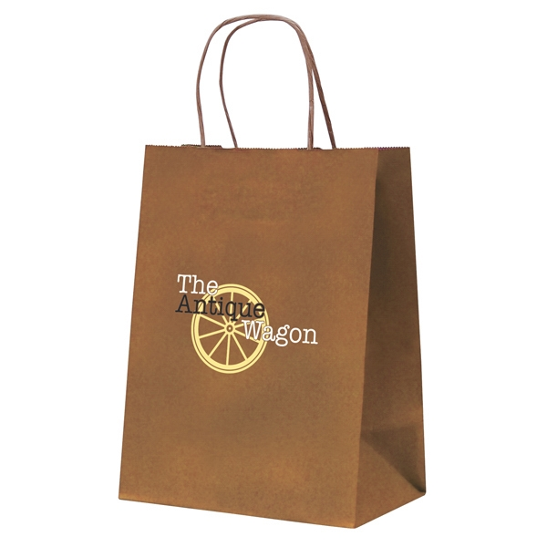 Tinted Kraft Paper Shopping Bag With 1-color, 1-sided Hot Stamp Photo
