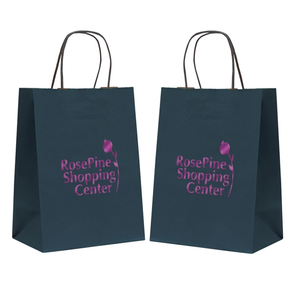 Tinted Kraft Paper Shopping Bag With 1-color, 2-sided Hot Stamp Photo