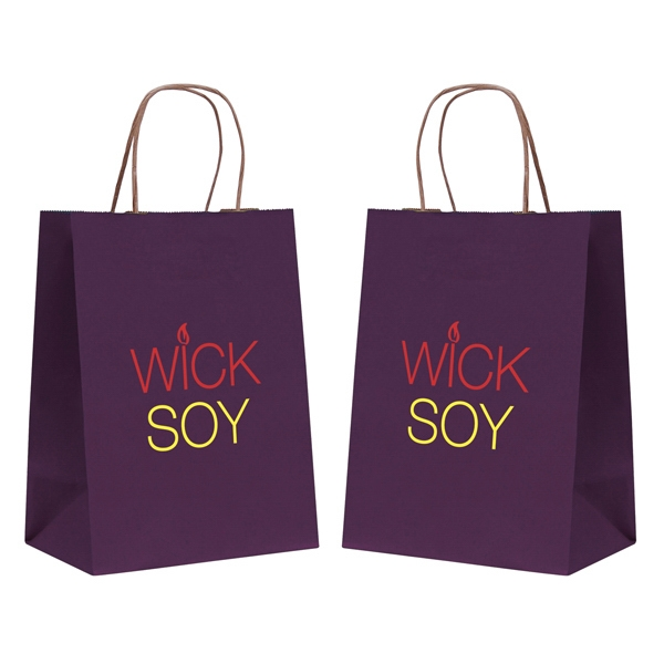 Tinted Kraft Paper Shopping Bag With 2-color, 2-sided Hot Stamp Photo