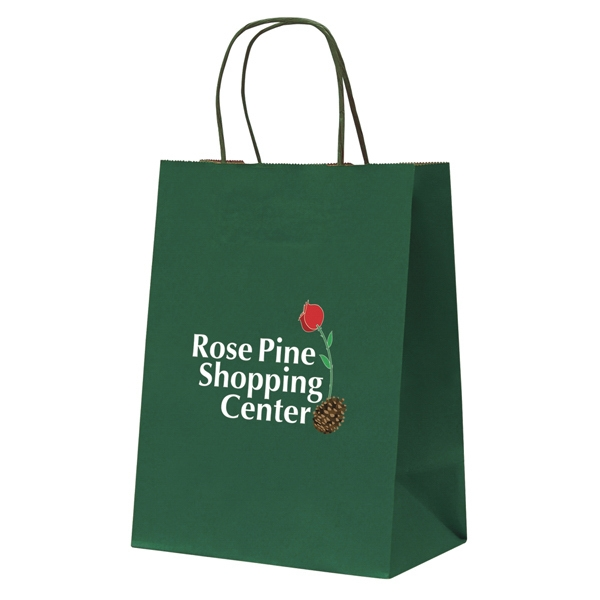 Tinted Kraft Paper Shopping Bag With 1-sided Full-color Transfer Photo