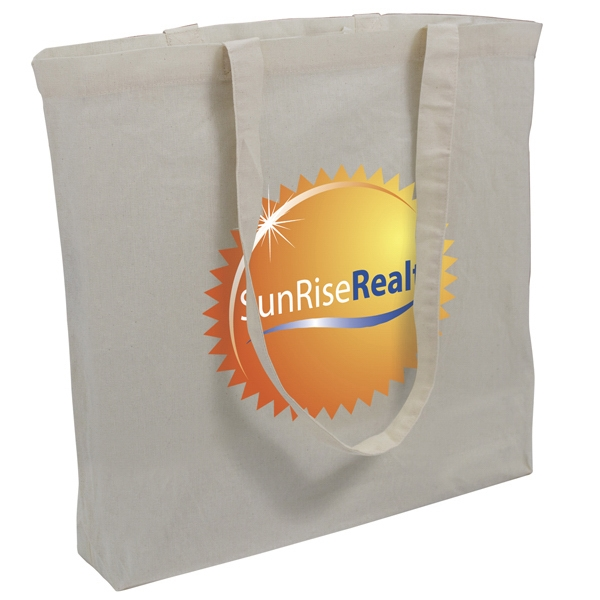 "Natural Cotton Tote With 3"" Bottom Gusset And Full-color Imprint Photo"