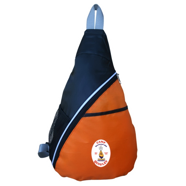 Wedge Shaped Sling Pack With Zippered Pocket Photo