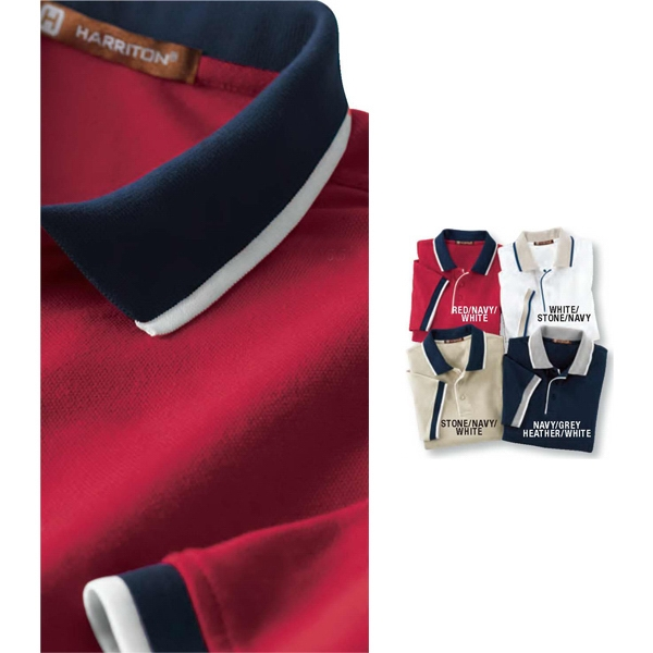 Harriton - S- X L - Men's 6 Oz. Cotton Pique Colorblock Polo Shirt Photo