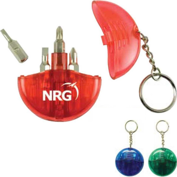 Printed - Four Screwdrivers In Round Case With Key Chain Photo