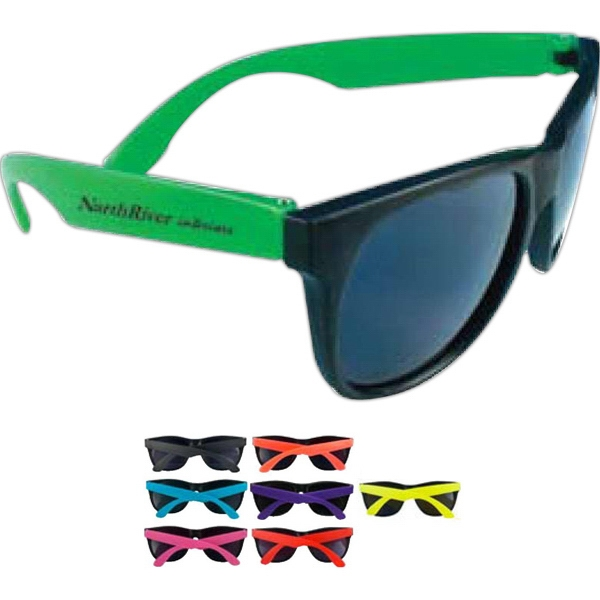 Fun Sunglasses With Neon Temples. Dark, Uv-protective Lenses Photo