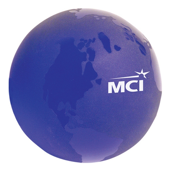 "Frosted Blue 3"" Diameter World Globe Shape Paperweight Photo"