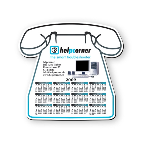 "Phone Shaped Hard Top Calendar Mouse Pad, 1/16"" Base, Approximately 8"" X 8"" Photo"