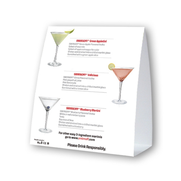 "Table Top Ad Tent Display On 12 Point Coated Card Stock, 4"" X 4"" Photo"