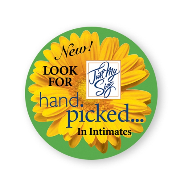 "Round Lapel Stickers Are Printed On Glossy Permanent Adhesive Paper, 3"" Photo"