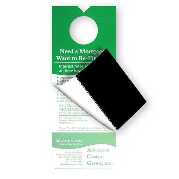 Door Hanger With A Tear Away Magnetic Business Card Photo
