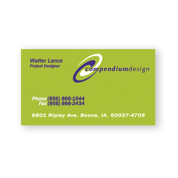Business Card Printed On 10 Point Coated Stock Photo