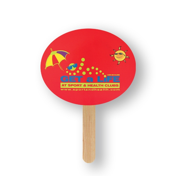 Oval Mini Hand Fan With Basswood Handle Attached With Adhesive To The Back Of Fan Photo