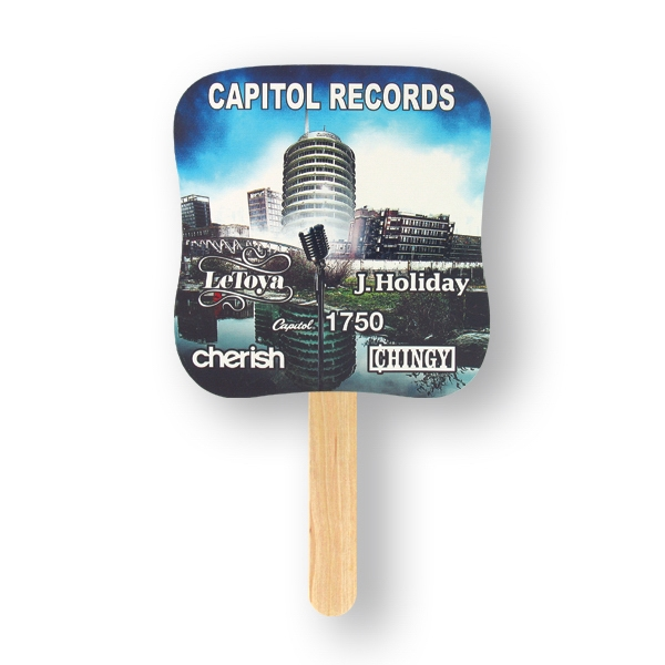 Palm Mini Hand Fan With Basswood Handle Attached With Adhesive To The Back Of Fan Photo