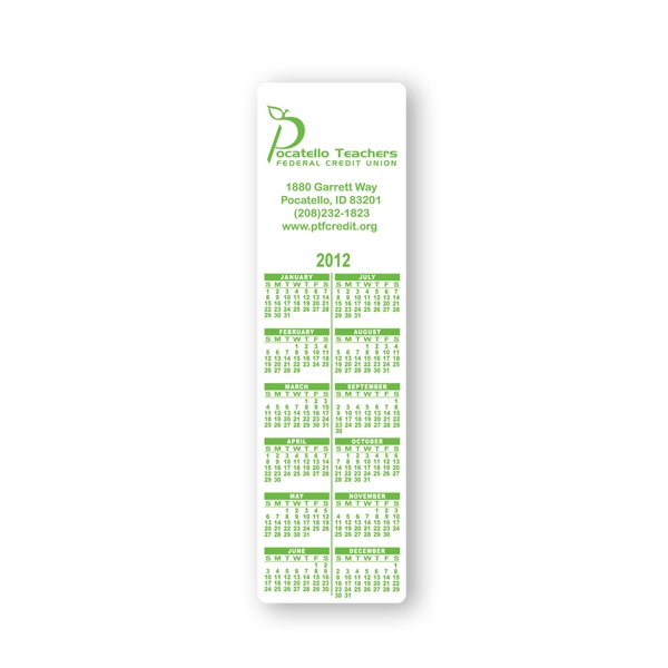 "Bookmark Calendar Printed On 10 Point Coated Board Stock, 2"" X 7"" Photo"