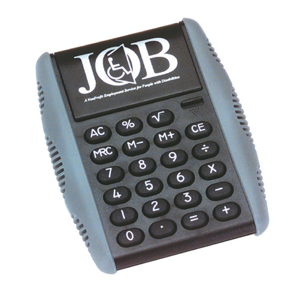 Black Calculator With Rubber Border Of Soft Tough Grip And Raised Rubber Keys Photo
