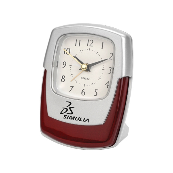 Silver And Wood Desk Clock With High Gloss Finish Wood Photo