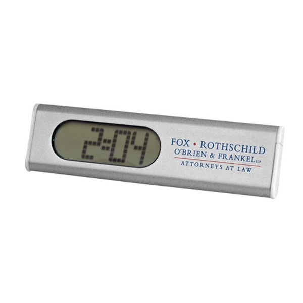 Slim And Trim Alarm Clock With Calendar Display In An Aluminum Case Photo