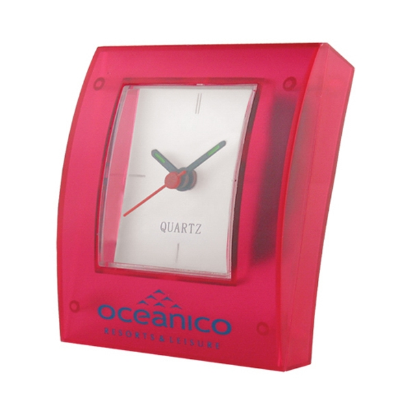 Translucent Pink Rectangular Shape Analog Desk Clock Photo