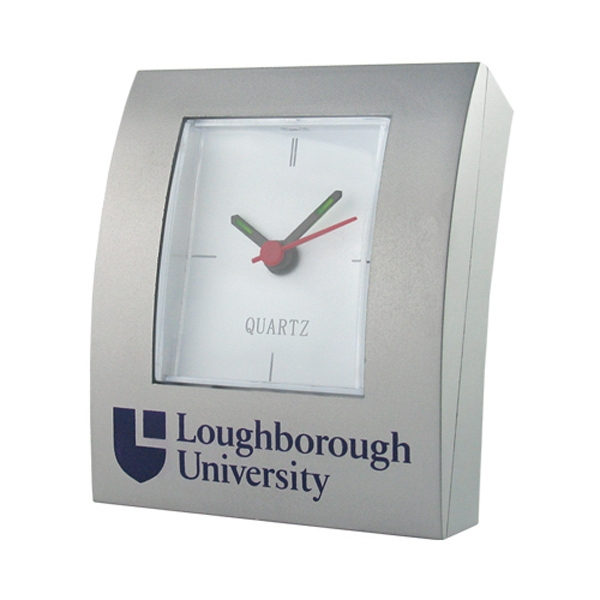 Silver Rectangular Shape Analog Desk Clock Photo