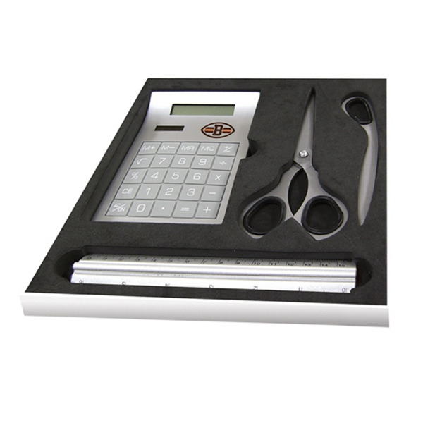 Four Piece Gift Set Contain Scissors, Letter Opener And Calculator Photo