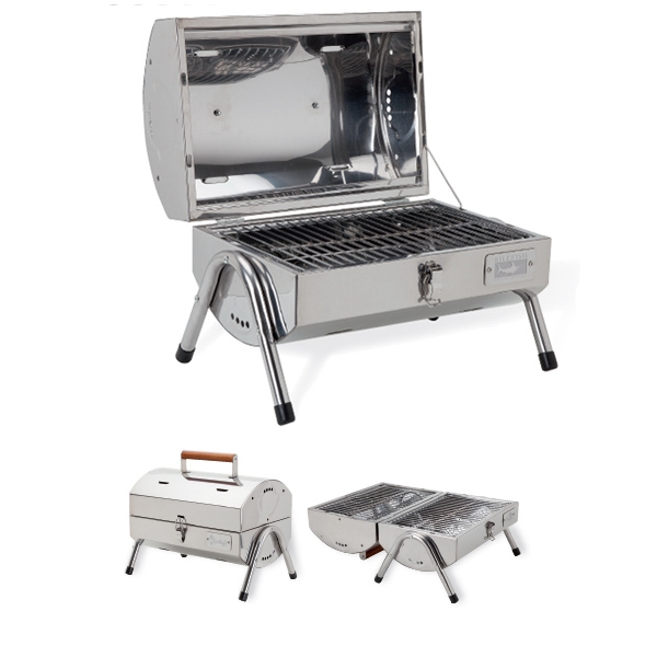 Bbq Grill With Stainless Steel Casing, Lid Stand, Clasp Locking Lid And Vent Holes Photo