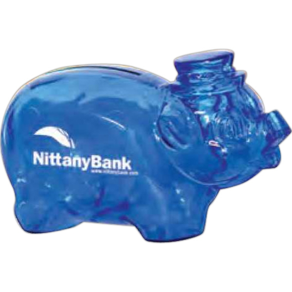 "Translucent Blue - Piggy Bank, 4 1/4"" Bank Photo"