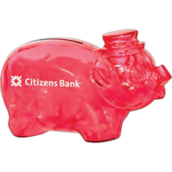 "Translucent Red - Piggy Bank, 4 1/4"" Bank Photo"
