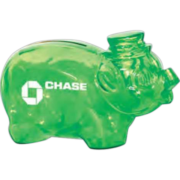 "Translucent Green - Piggy Bank, 4 1/4"" Bank Photo"