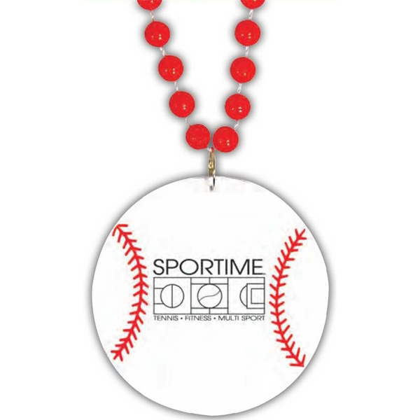"Baseball Medallion - Sport Medallion Necklaces, Medallion Is 2 1/2"" On 33"" Long Necklace Photo"