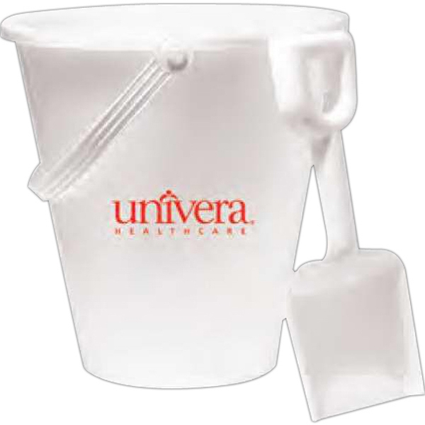 "6"" White Pail with Shovel"