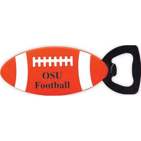 Football shaped bottle opener