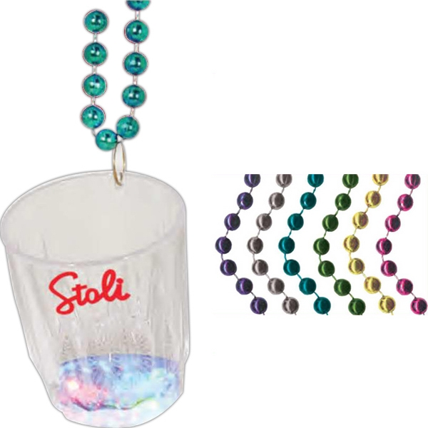 Light Up Flashing Shot Glass Bead Necklace Photo
