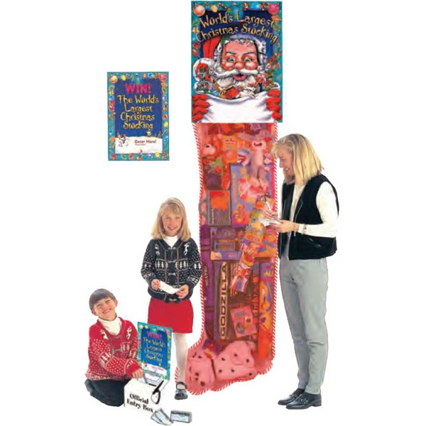 Promotional Giant Christmas Stocking Filled With 15-20 Large Toys, 8', Blank Photo