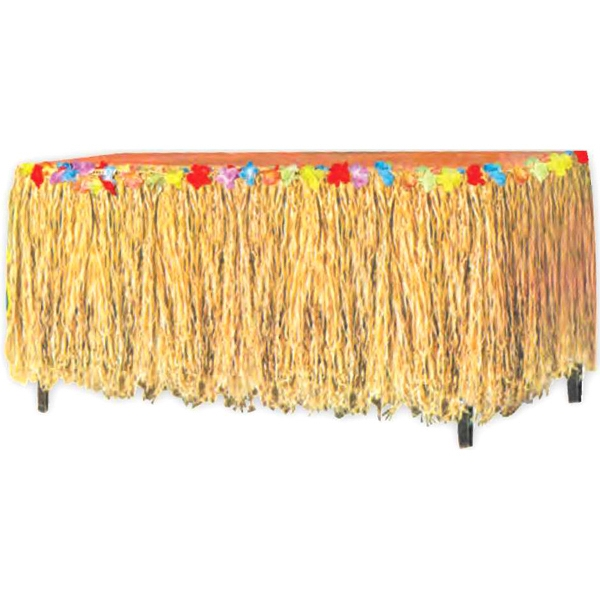 Raffia Table Skirt With Flowers. This Item Is Sold As Blank Stock Only Photo