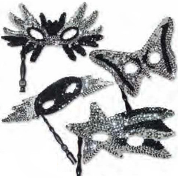 Silver And Black Sequin Masks With Sticks, Priced Per Pack Of 12 Assorted, Blank Photo
