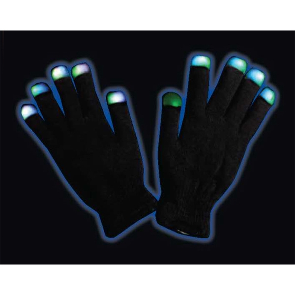Black light up gloves