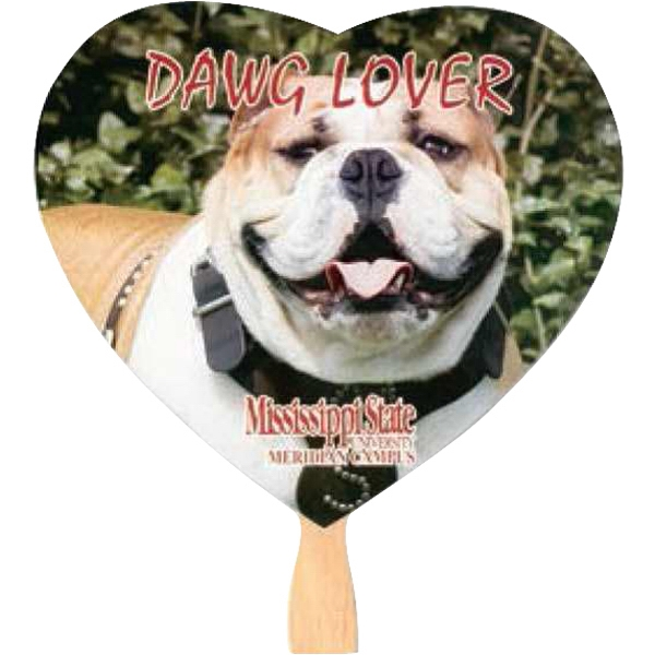 Black Ink - One Side - Heart - Fan With Stapled Wooden Handle Photo