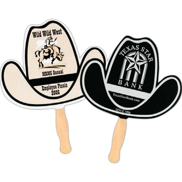 Black Ink - Both Sides - Cowboy Hat - Fan With Stapled Wooden Handle Photo
