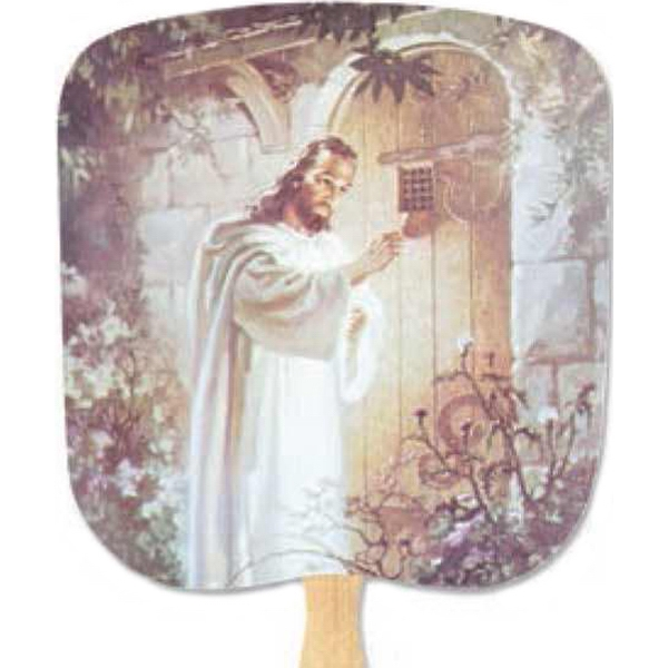 Christ Knocking - Religious - Fan With Full Color Stock Picture On Coated Front Photo