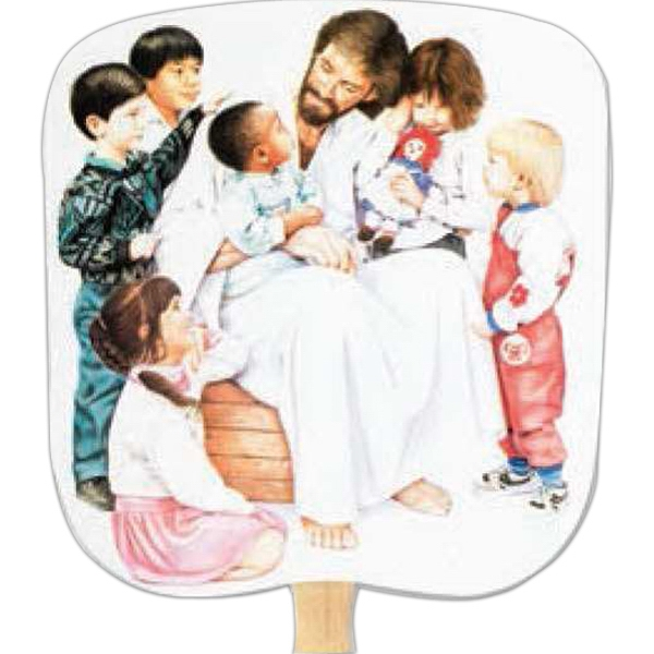 Christ With Children - Religious - Fan With Full Color Stock Picture On Coated Front Photo