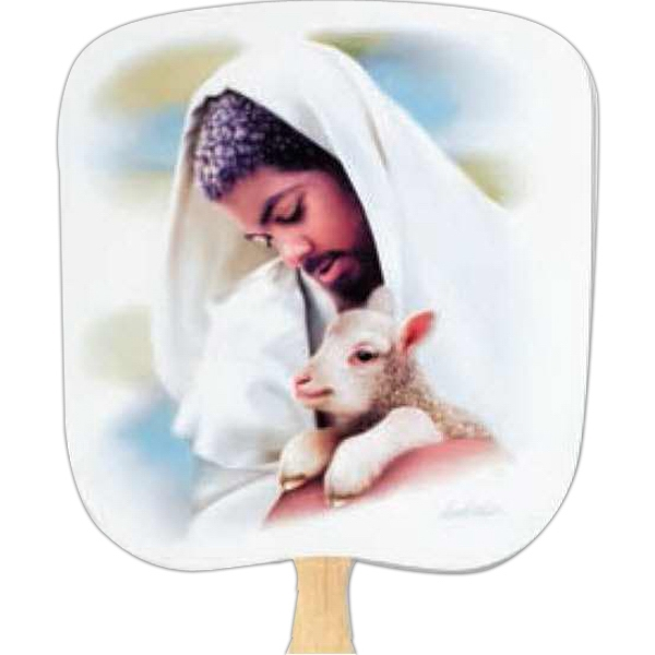 The Loving Shepherd - Religious - Fan With Full Color Stock Picture On Coated Front Photo