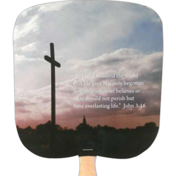 John 3:16 - Religious - Fan With Full Color Stock Picture On Coated Front Photo