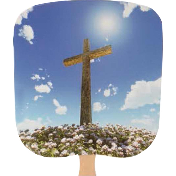 Cross - Religious - Fan With Full Color Stock Picture On Coated Front Photo