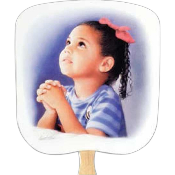 Prayerful - Religious - Fan With Full Color Stock Picture On Coated Front Photo