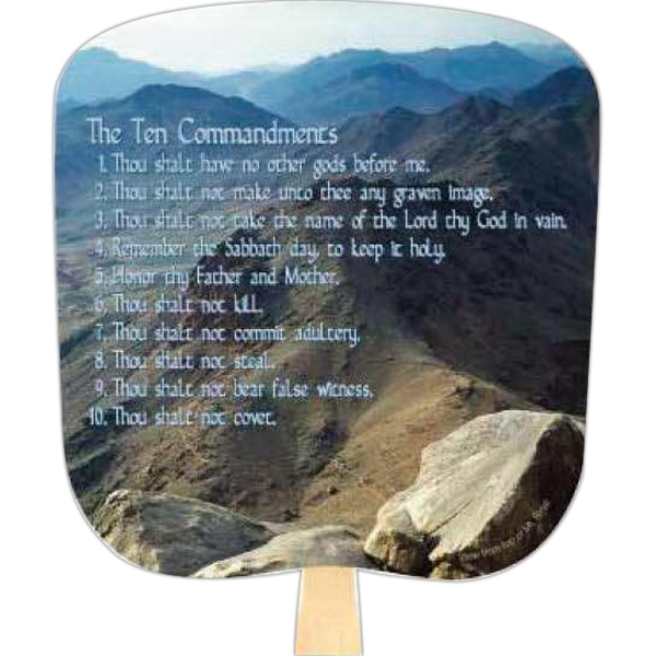 Ten Commandments - Religious - Fan With Full Color Stock Picture On Coated Front Photo