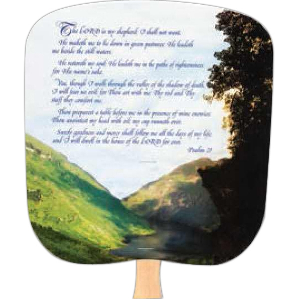 23rd Psalm - Inspirationals - Fan With Full Color Stock Picture On Coated Front Photo